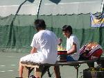 Kozou and harsha sitting on bench